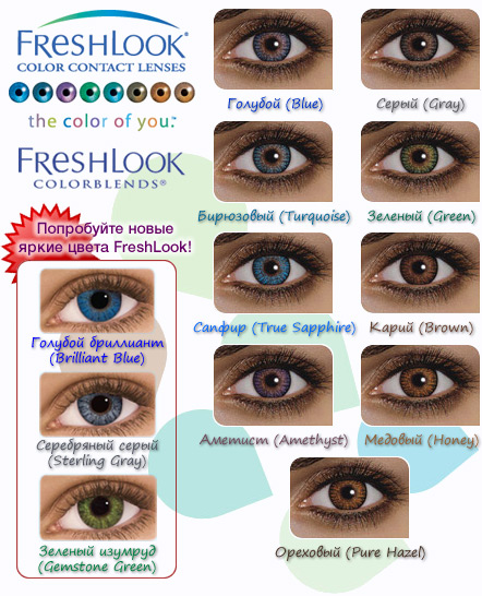 Таблица оттенков линз FreshLook Colorblends